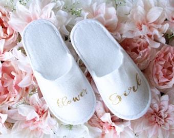 Kids Custom Spa Slippers | Flower Girl Slippers | Ring Bearer Slippers | Wedding Gift | Wedding Party Proposals | Flower Girl Gift