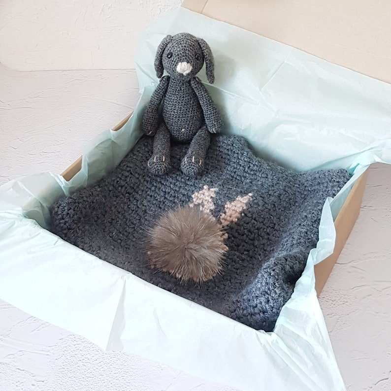 Easter Bunny Toy Gift Included Custom Color Knit Apparel Knitted Grey Toddler Jacket Warm Gender Neutral Clothes Unisex Kids Knitwear