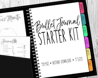 Bullet Journal Starter Kit Printable (Dot & Grid) undated, multiple sizes, instant download