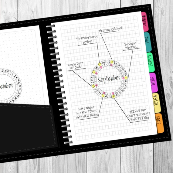 Bullet Journal Monthly Circular Printable (Dot & Grid) undated, multiple  sizes, instant download