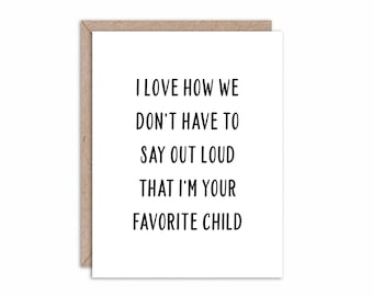 c15d4082 Printable Funny Fathers Day Card, Favorite Child Gift For Dad