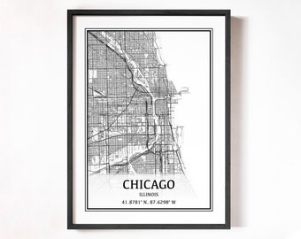 Chicago map | Etsy on