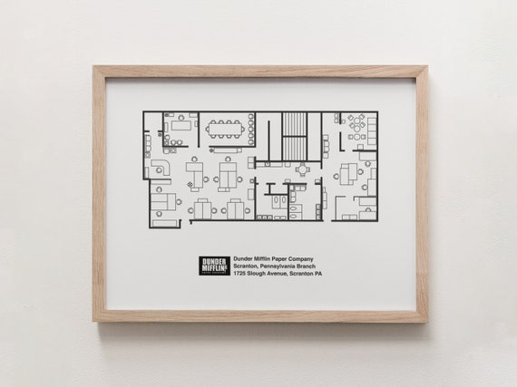 The Office Tv Show Poster Dunder Mifflin Floor Plan Art Print Etsy