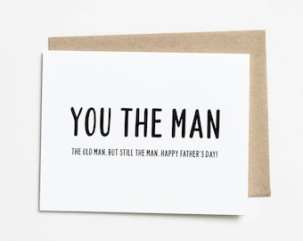 Funny Fathers Day Card, Old Man Gift For Dad