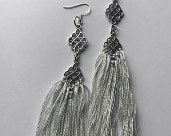 Ivory & Silver Fringe Earrings