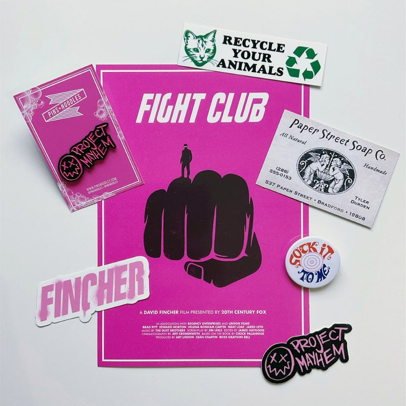 Fight Club  Various Items Pin Badge Stickers Art Print image 1