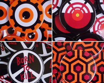 Stanley Kubrick - 38mm Button Badge Pack (The Shining, A Clockwork Orange, Full Metal Jacket, 2001: A Space Odyssey)