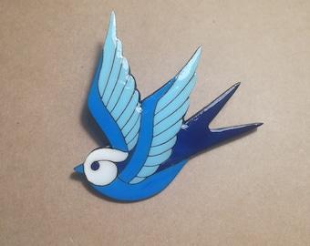 Blue Swallow Brooch