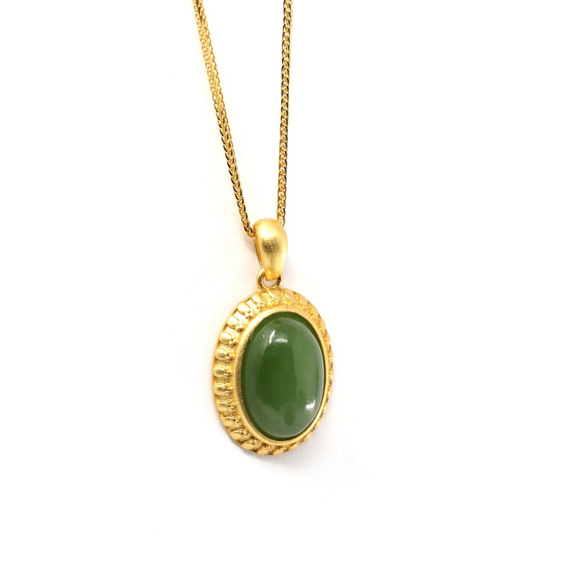 Love Jade Jewelry Gift For Her Antique Style Gift For Birthday Sterling Silver Nephrite Green Jade Classic Pendant Necklace