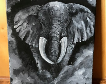 acrylic Elephant surrounded by fog
