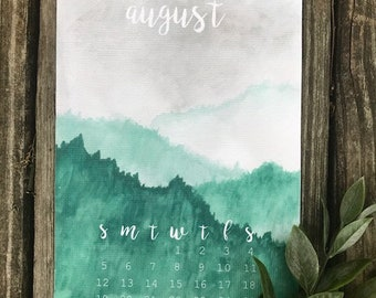 Green Hills Mini Calendar || Watercolor Print || Bujo Calendar || Bullet Journal Art || Home Decor || Mini Calendar