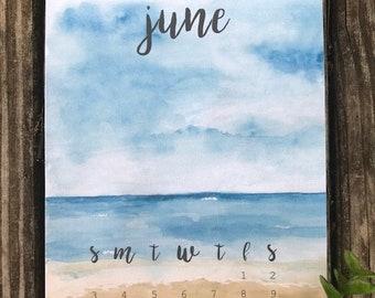 Mini Calendar || Bujo Calendar || Bujo Print || Bathroom Wall Art || Home Decor || Watercolor Print || Bujo Accessories || Planner Decor