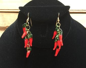 Murano Glass Chili Pepper Earrings