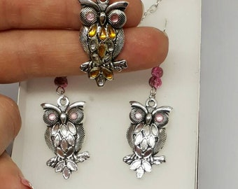 Owls necklace and earrings gift set