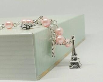 Eiffel tower vintage style beaded charm bracelet.