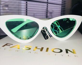 Retro cateye sunglasses white frame mint lense