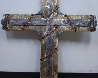 Metal Cross made of Brass, Copper, & Stainless