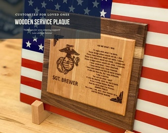 Wooden Service Plaque, Customized gift for Service Men and Women, Military / Law Enforcement Service Plaque