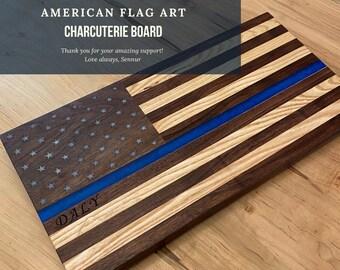American Flag Art Cutting Board, Hardwood US Flag, Epoxy filled USA Flag, Patriotic Flag Cutting Boards