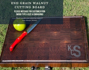 """End Grain Walnut Charcuterie / Cutting Board - Personalized Boards with Handle - Engraved - Large Cutting Board - 16""""x12""""x1.25"""""""