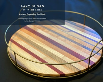 Lazy Susan Turntable with rails, Wooden Tray, Rotating Serving Tray, Round boards