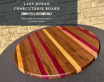 Lazy Susan Turntable 18'', Ottoman Décor, Large Wooden Centerpiece, Rotating Serving Tray, XL Lazy Susan, Round boards
