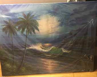 Beautiful, One of a kind, Original Oil Painting on Mounted Canvas of Island Ocean Scene