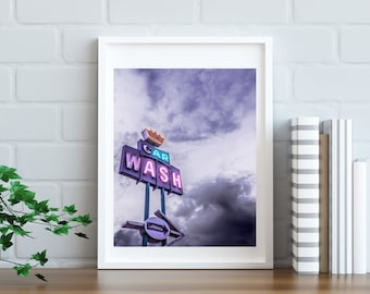 8x10 CAR WASH NEON Sign Photography Print (Digital Download)