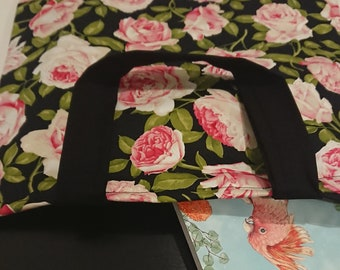 FLORAL TOTE in Black, Pink, and Green
