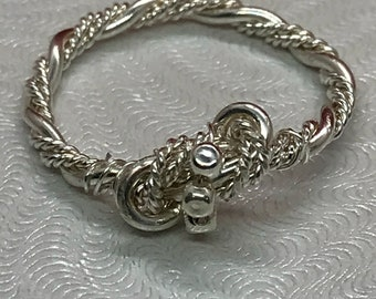 Twisted-beaded Sterling Silver Ring