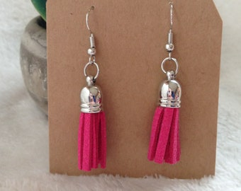Pink Tassel Dangle Earrings