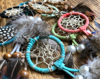 Boho Indie Dream Catcher Keychain, Traditional Web, Blue, Black, Green, Brown, Coral, and More