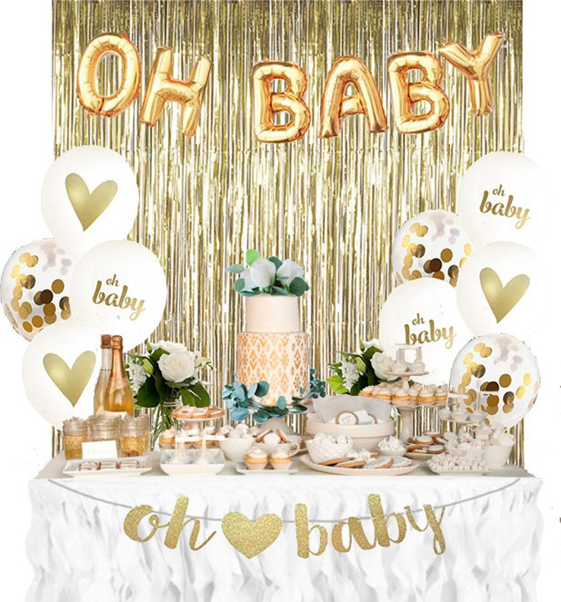 37747480b Baby Shower Decorations Gender Reveal OH BABY party Kit. Set