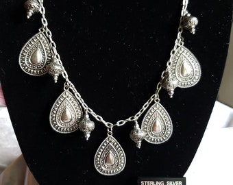 Silver Charm Necklace and Earring set