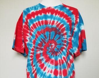"Tie Dye T-shirt ""Spiral"" in Red White & Blue Original Hand-made size XL"