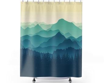 Mountain Scene Shower Curtain Mother Nature Landscape Decor