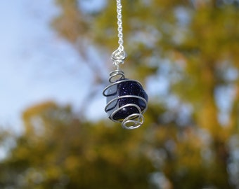 Wire-Wrapped Blue Goldstone Necklace