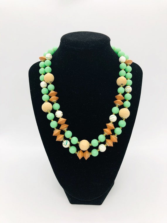 Mod Two Strand Beaded Necklace, Wood, Chartreuse B
