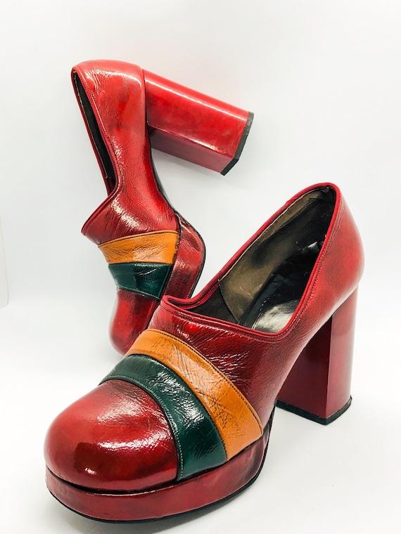 Rare Platform Shoes, Red Leather Platform Heels, … - image 1