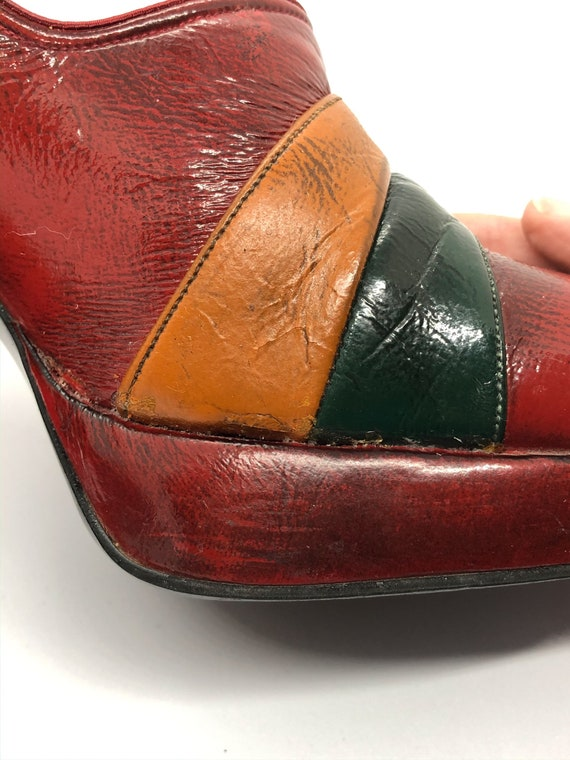 Rare Platform Shoes, Red Leather Platform Heels, … - image 9
