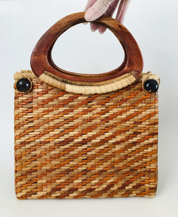 Vintage Hand Woven Wicker Handbag, Wicker Rattan H