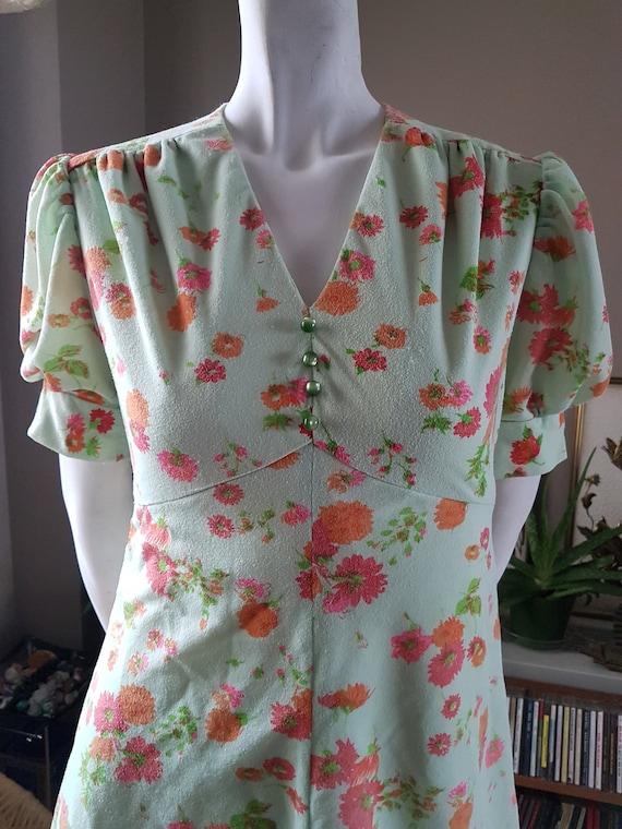 Vintage Mod Dress, Orange Flower Dress, 1960's Mod