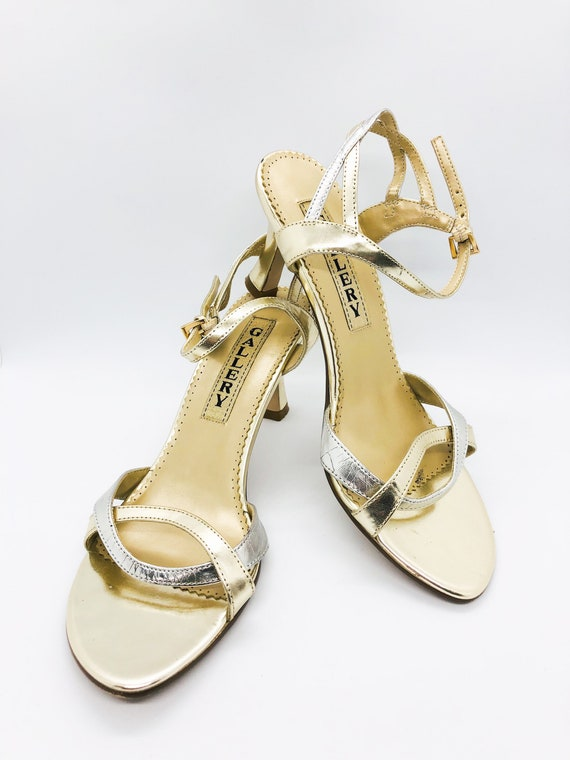 Vintage Strappy Heels, Vintage Gold Heels, Vintage