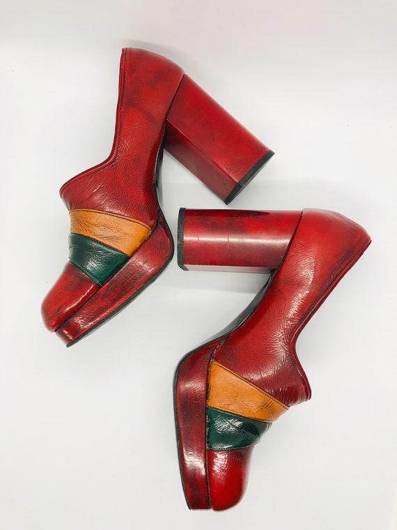 Rare Platform Shoes, Red Leather Platform Heels, … - image 6