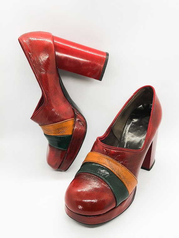 Rare Platform Shoes, Red Leather Platform Heels, … - image 5