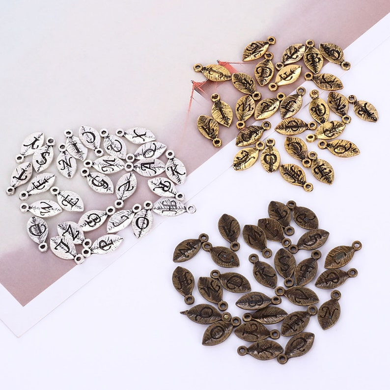DIY Bulk Charms Carved English Letters Different Charms Necklace Charms 2 set Alloy Leaf Bracelet Charms Wholesale Charms