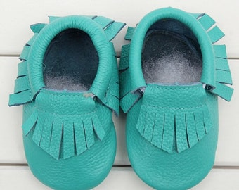 Genuine Leather Baby Moccasins, Turquoise, Newborn, Moccs, White, Toddler Shoes