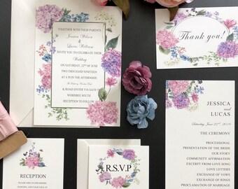 Purple and Blue Floral Wedding Invitation Sets