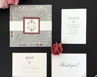 Silver and Burgundy Laser Cut Wedding Invitations