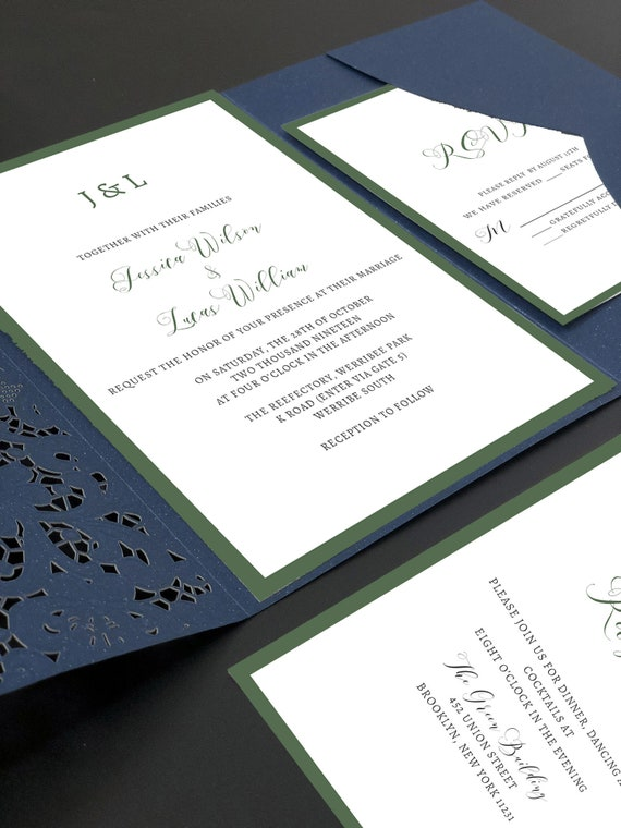 Navy And Green Wedding Invitations With Laser Cut Pockets Free Etsy